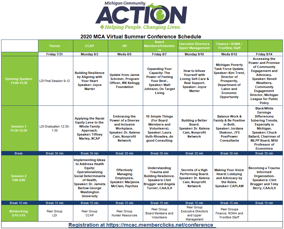 Click for PDF of 2020 Virtual Conference Schedule